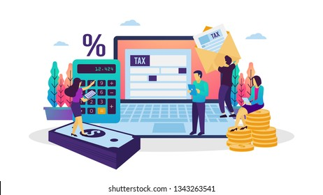 Vector illustration of online tax payment. People filling tax form using internet. Suitable for web banner, poster, ui, flyer, mobile app.
