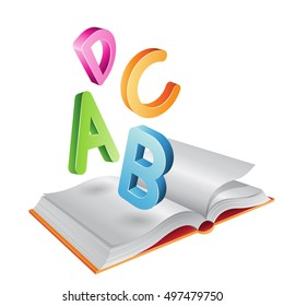 Vector Illustration of Open Book and Flying Letters isolated on a White Background