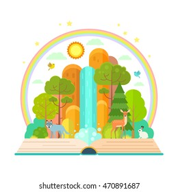 Vector illustration of open book with nature inside - trees, mountains, animals, waterfall.  Nature protection concept made in flat style vector.