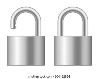 Vector illustration of open and closed padlocks
