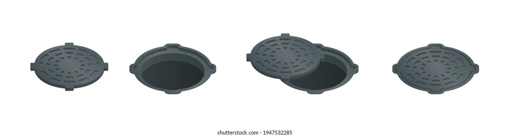 Vector illustration open and closed sewer hatch isolated on white background. Realistic manhole cover icon in flat cartoon style. Well hatch. Open and closed sewer pit with a hatch.