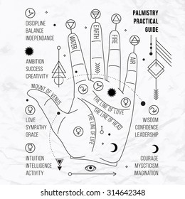 Vector illustration of open hand with sun tattoo, alchemy symbol, eye, triangle. Geometric abstract graphic with occult and mystic sign. Linear logo and spiritual design Concept of magic, palm reading
