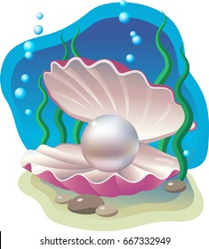 Vector illustration - open lilac shell with a pearl on a blue background of the sea bottom.