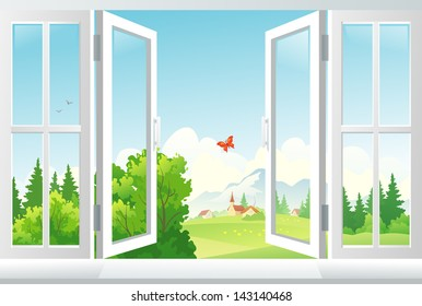Vector illustration: open window with a landscape view