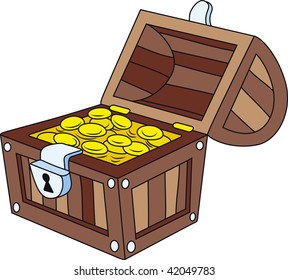 Vector illustration of open wooden treasure chest