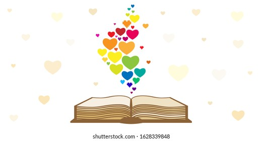 vector illustration of opened book with rainbow hearts for book lovers