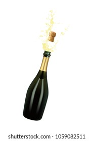 Vector illustration of opened bottle of champagne or sparkling wine with a cork and splash in photorealistic style. A realistic object on a transparent background. 3D Realism.