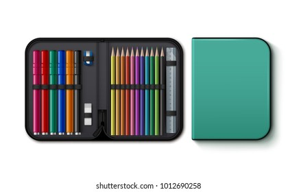 Vector illustration of opened and closed pencil case, top view. Isolated on white background