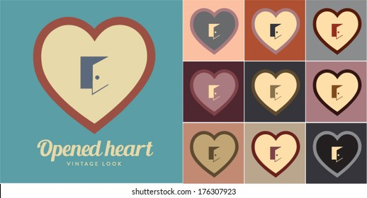 Vector illustration of opened heart. Retro, vintage look.