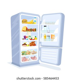 Vector illustration of opened refrigerator full of food isolated on white