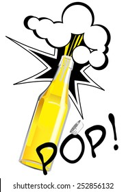 Vector illustration of opening bottle in pop art style. Can be used as beer, cider, lemonade advertisement.