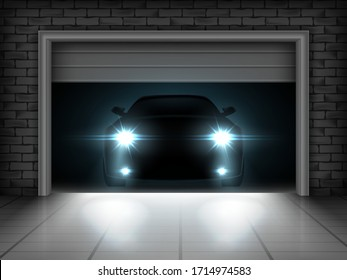 Vector illustration of opening garage and car with brightly shining headlights