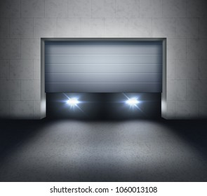 Vector illustration of opening shutter and car headlights inside garage door and light on asphalt
