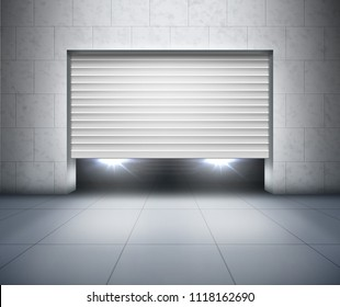 Vector illustration of opening shutter and car headlights inside garage with gray concrete block wall