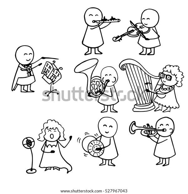 Vector Illustration Opera Singer Orchestra Funny Stock Vector