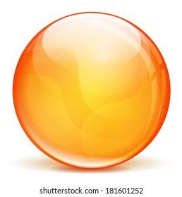 vector illustration of orange 3d bubble on white background