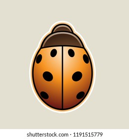 Vector Illustration of Orange Asian Ladybug Cartoon Icon isolated on a White Background