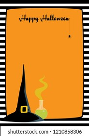 "Vector illustration. Orange background, black and white striped frame, witch hat, flask with green potion, dangling spider. Vertical A4 format, greeting ""Happy Halloween"", place for text."