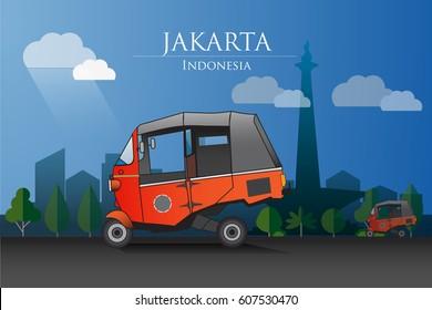 Vector illustration, orange Bajay a three-wheeled transportation that characterizes the city of Jakarta.