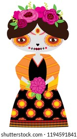 Vector illustration of orange catrina doll on a white background. Celebrating the day of the dead and Halloween. Use in scrapbooking, crafts, fabric, wallpaper