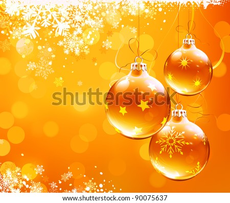 vector illustration of orange christmas abstract background with cool snowflakes and christmas decorations