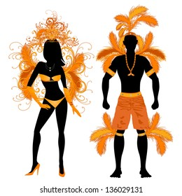 Vector Illustration Orange Couple for Carnival Costume Silhouettes with a man and a woman.