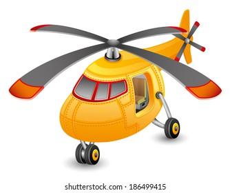 Vector illustration. Orange helicopter.