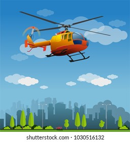 Vector illustration, orange helicopter in the sky