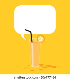 Vector illustration of the orange juice with black straw. Big text bubble on top of the illustration.