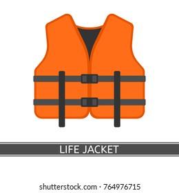 Vector illustration of orange life jacket isolated on white background, flat style.