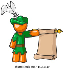 A vector illustration of an orange man dressed as a pageboy holding a scroll.
