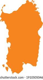 vector illustration of Orange map of Sardinia
