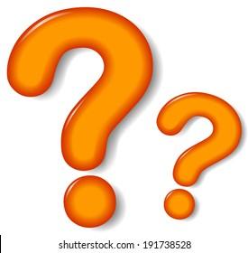 Vector illustration of orange question mark on white background