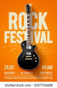 vector illustration orange rock festival concert party flyer or posterdesign template with guitar, place for text and cool effects in the background