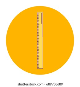 vector illustration orange round icon, ruler, line art