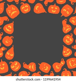 Vector illustration: orange scary carved pumpking icons on frame isolated on black background. Decorative element for Halloween party greeting cards, posters, postcards, wrapping paper, scrapbooking