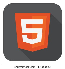 vector illustration of orange shield with html five sign on the screen, isolated web site development icon on white background