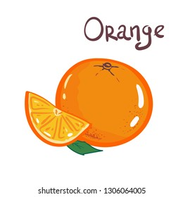 Vector illustration. Orange slice with leaves isolated on white background. logo, skech, decorative poster, emblem natural product, farmers market. packaging design of cosmetics food. hand drawing