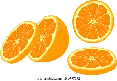 Vector illustration of orange slices at different angles.