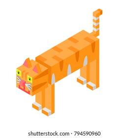 A vector illustration of an orange tabby cat in box style on white background