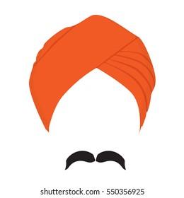 Vector illustration orange turban headdress and mustache isolated on white background. Sikh turban icon. Indian man character.