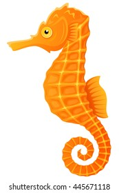 Vector illustration of an orange and yellow seahorse.