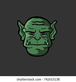 Vector illustration of an orc head