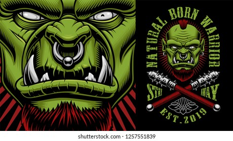 Vector illustration of an orc warrior with weapon on the dark background, text is on the separate group.