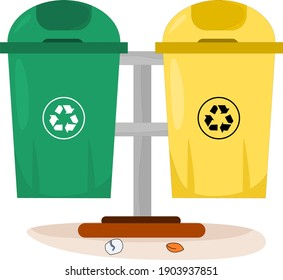 Vector illustration of organic and inorganic trash boxes in the yard to accommodate trash