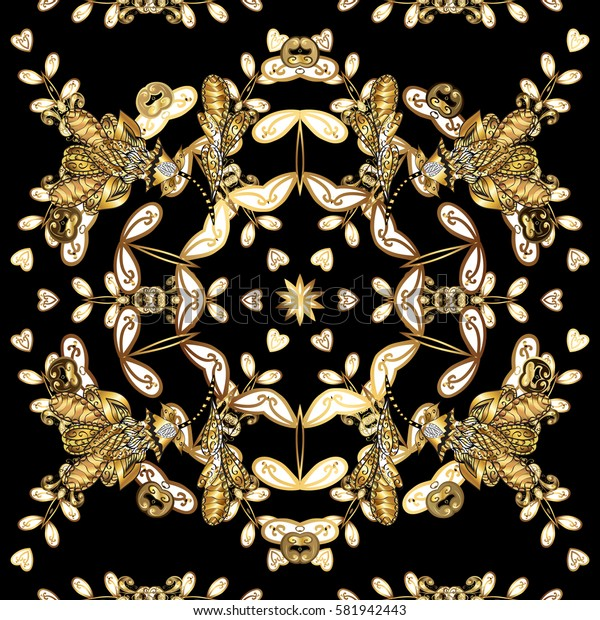 Vector illustration. Oriental vector classic black and golden pattern. Seamless abstract background.