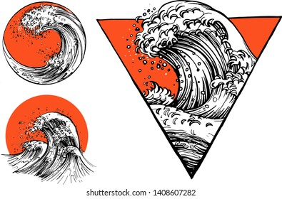 Vector illustration of oriental tattoo waves sketch set. Japanese ocean or sea water waves drawing with sun and geometric figures like triangle, circle in Asian style. Vintage hand drawn style.