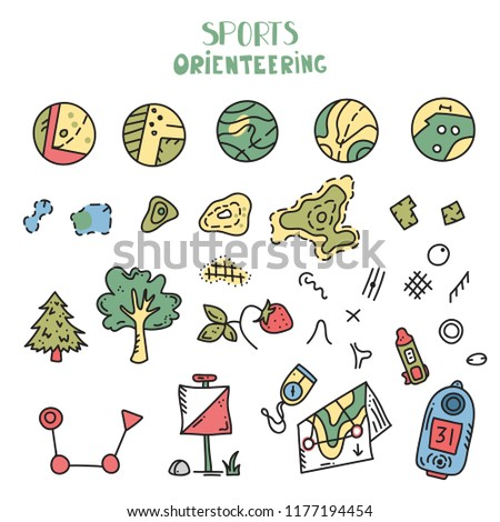 Vector Illustration Orienteering Map Signs Large Stock Vector