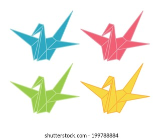 Vector illustration of origami cranes