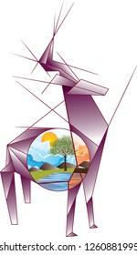 Vector illustration origami deer, big horns, nature and birds horns, landscape, skech drawing